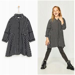 Zara girls checkered white and black shirt dress